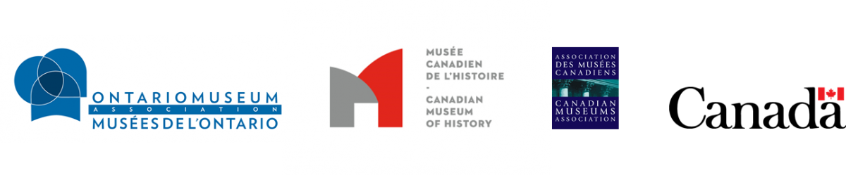 Logos for the Ontario Museum Association, the Canadian Museum of History, the Canadian Museums Association and the Government of Canada