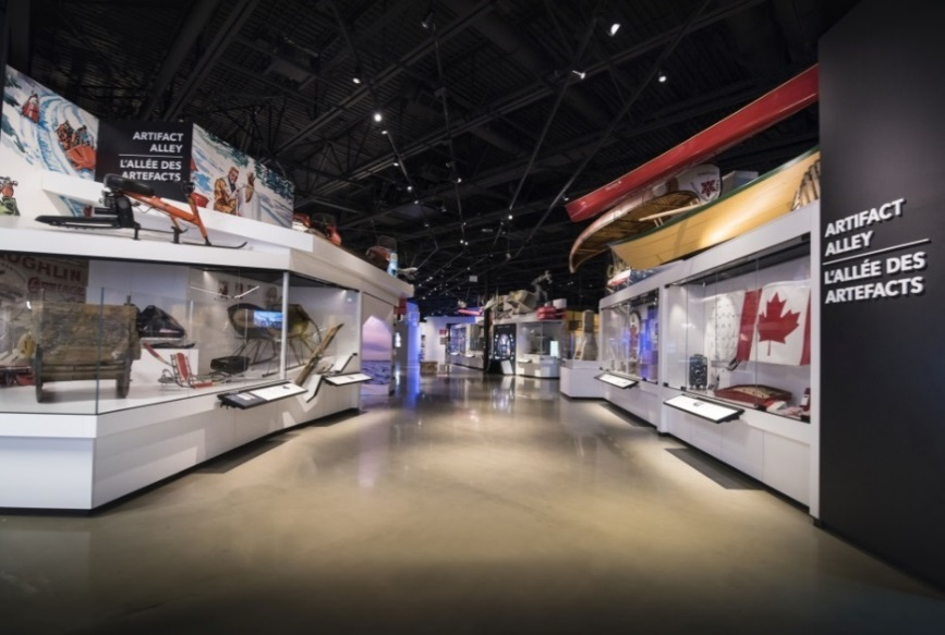 A view of Canada Science and Technology Museum featuring canoes and kayaks.