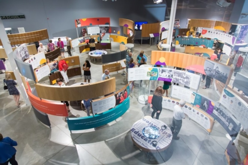 An aerial view of the trailblazers exhibit showing people viewing the displays
