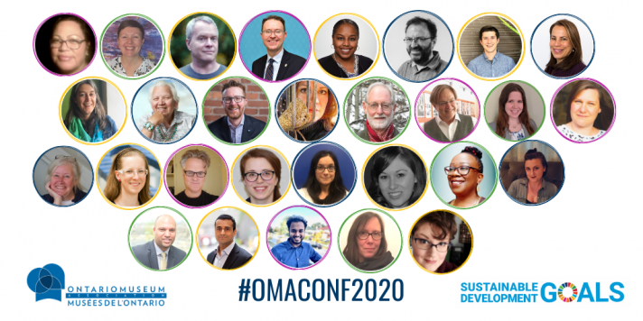 A collage of faces of speakers for the OMA conference 2020 in multicolour circles