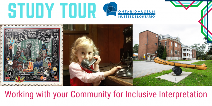 Working with your Community for Inclusive Interpretation, Image of La Landscape de Kanata art piece, girl on phone, and Woodland Cultural Centre