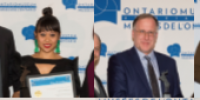 Six photos of awards recipients posing with their certificates in front of a white banner with blue OMA logos on it.