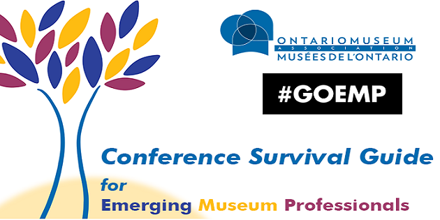 "Tree with blue, purple and yellow leaves. OMA logo and GOEMP logo. Text that says "" Conference Survival Guide for Emerging Museum Professionals"""