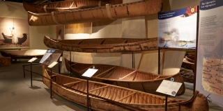 Origins Gallery with birchbark canoes