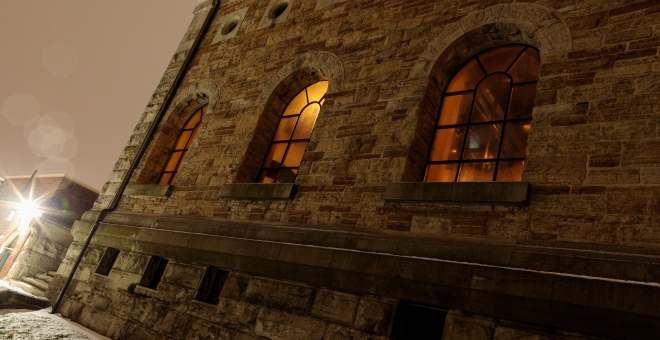 Hamilton Museum of Steam & Technology - exterior nighttime